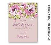 Stock vector ranunculus rose peony wedding invitation 705975586