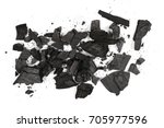 pile charcoal isolated on white ... | Shutterstock . vector #705977596