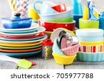 colorful dishes and utensils.... | Shutterstock . vector #705977788