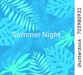 summer night hand drawn tropic... | Shutterstock .eps vector #705980932