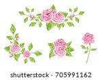 decorative pink roses bouquet...   Shutterstock .eps vector #705991162