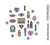 make up flyer for beauty studio.... | Shutterstock .eps vector #705992002