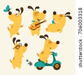 set of cartoon dog illustration ... | Shutterstock .eps vector #706003318