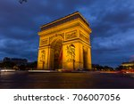 triumphal arch in paris at night   Shutterstock . vector #706007056