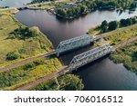steel railway bridge from above ... | Shutterstock . vector #706016512