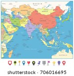 south asia map and flat map... | Shutterstock .eps vector #706016695