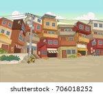 street of poor neighborhood in... | Shutterstock .eps vector #706018252