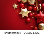 red and gold christmas ornaments   Shutterstock . vector #706021222
