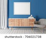 mock up poster in living room... | Shutterstock . vector #706021738