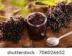 elderberry fruit jam | Shutterstock . vector #706026652
