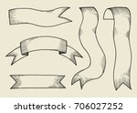 vector ribbons. hand drawing | Shutterstock .eps vector #706027252