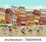street of poor neighborhood... | Shutterstock .eps vector #706044046