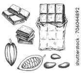 hand drawn chocolate bar and... | Shutterstock .eps vector #706044892