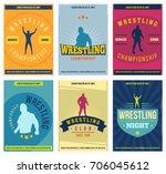 wrestling posters set. retro.... | Shutterstock .eps vector #706045612