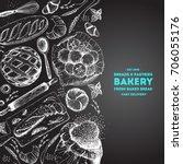 bakery illustration. vintage... | Shutterstock .eps vector #706055176