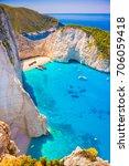 navagio beach on zakynthos... | Shutterstock . vector #706059418
