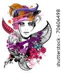 floral girl illustration | Shutterstock .eps vector #70606498