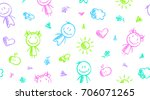 hand drawn seamless pattern... | Shutterstock .eps vector #706071265
