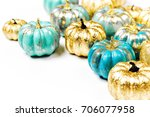 Shiny Gold And Blue Pumpkins....