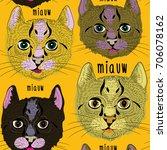 various cute cats seamless... | Shutterstock .eps vector #706078162