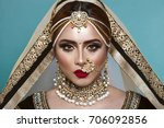 portrait of a beautiful elegant ... | Shutterstock . vector #706092856