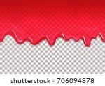 red jam drips seamless border.... | Shutterstock .eps vector #706094878