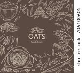 background with oats  plate and ... | Shutterstock .eps vector #706100605