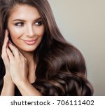 beautiful brunette woman with... | Shutterstock . vector #706111402