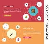 flat icons fishing  penknife ... | Shutterstock .eps vector #706121722