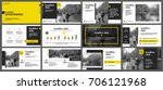yellow presentation templates... | Shutterstock .eps vector #706121968