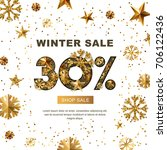 winter sale 30 percent off ... | Shutterstock .eps vector #706122436