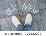 the text on the asphalt  old  ... | Shutterstock . vector #706123072