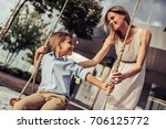 beautiful family is having fun... | Shutterstock . vector #706125772
