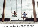 back view of cheerful children... | Shutterstock . vector #706125838