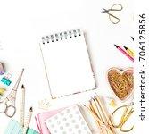 notebook mockup and school... | Shutterstock . vector #706125856