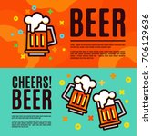 beer in glass mugs. set banner | Shutterstock .eps vector #706129636