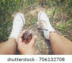 selfie of sneakers with sun... | Shutterstock . vector #706132708