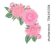 beautiful bouquet with pink... | Shutterstock .eps vector #706141336