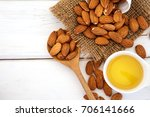close up almond oil in the...   Shutterstock . vector #706141666