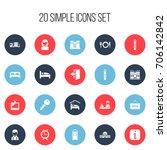 set of 20 editable motel icons. ...