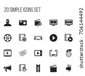 set of 20 editable cinema icons.... | Shutterstock .eps vector #706144492