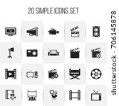 set of 20 editable cinema icons.... | Shutterstock .eps vector #706145878