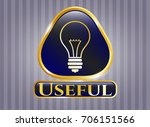 golden badge with idea icon...   Shutterstock .eps vector #706151566