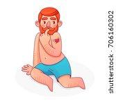 ginger shirtless man in boxers. ... | Shutterstock .eps vector #706160302