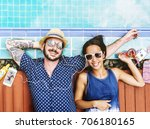 aerial view of cheerful couple...   Shutterstock . vector #706180165