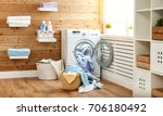 Stock photo interior of a real laundry room with a washing machine at the window at home 706180492
