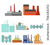 factory set icons in cartoon... | Shutterstock .eps vector #706183252