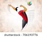 black volleyball player. dark... | Shutterstock .eps vector #706193776