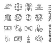 fintech line icon set. included ... | Shutterstock .eps vector #706195396
