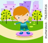 kids play in play ground with... | Shutterstock . vector #706205416